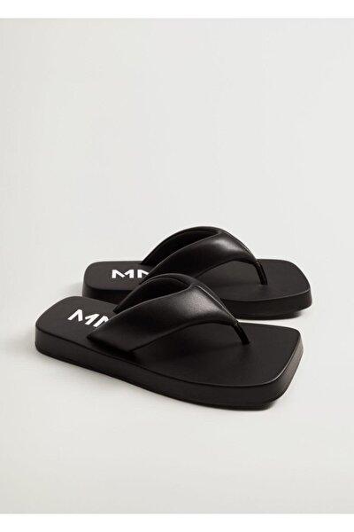 Kadın Siyah Kapitone Platform Sandalet