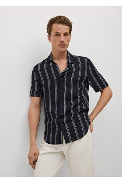 Regular Kesim Çizgili Dökümlü Gömlek