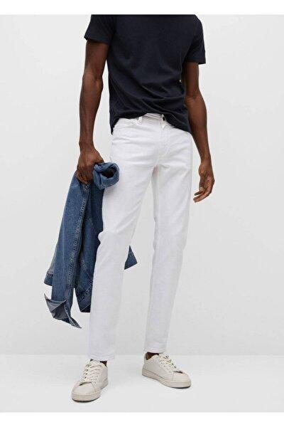 Erkek Beyaz Dar Kesim Beyaz Jan Jeans