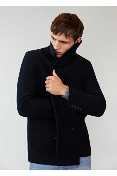 Erkek Lacivert Içi Yelekli Yün Palto