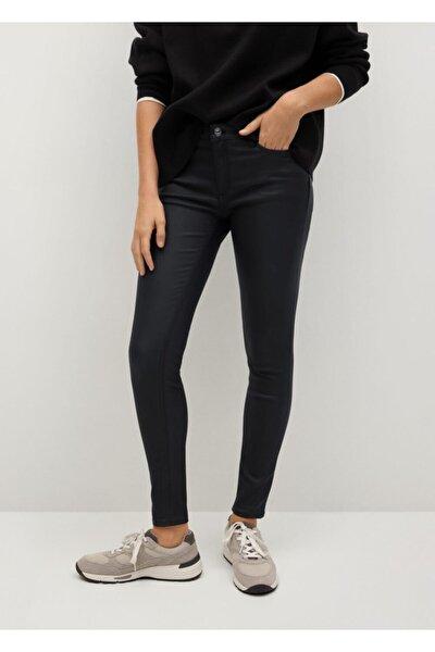Kadın Siyah Deri Görünümlü Skinny Push-Up Jean Pantolon