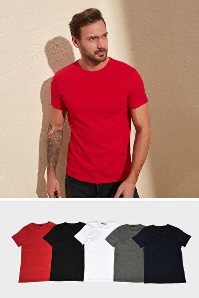 Çok Renkli Erkek Basic 5'li Paket-Slim Fit Bisiklet Yaka Kısa Kollu Süprem T-Shirt TMNAW20TS0243