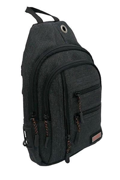 Unisex Siyah 8 Gözlü Su Geçirmez Hafif Kumaş Usb ve Kablo Çıkışlı Bady Bag Omuz Çantası
