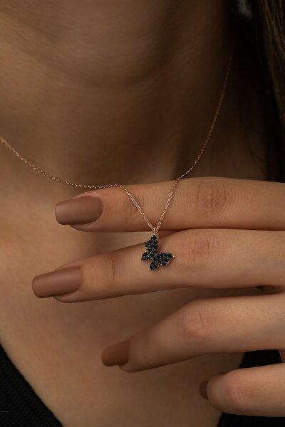 925 Ayar Minik Siyah Taşlı Kelebek Kolye Kadın Gümüş Kolye