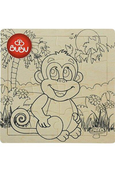 Ahşap Puzzle Boyanabilir 18x18 cm Maymun