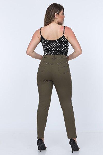 Askeri Yeşil Kadın Yüksek Bel Cotton Cepli Pantolon Askeri Yeşil