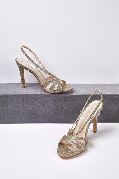 Kadın Altın Rengi Taşlı Topuklu Abiye Ayakkabısı CHARLIZE
