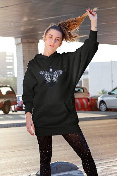 Wear Kozmik Kelebek Siyah Elbise Sweatshirt Tunik