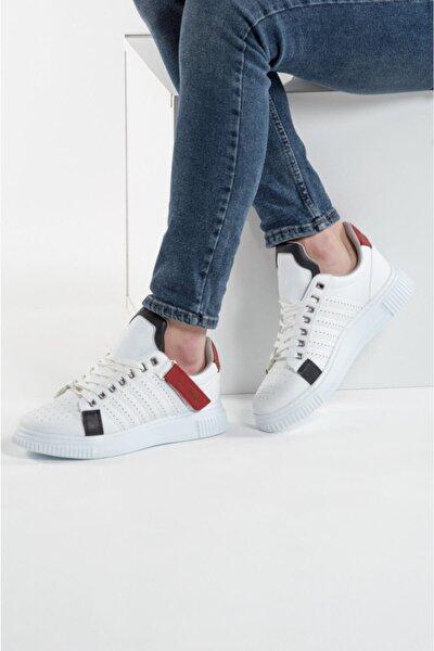 037 Beyaz Kırmızı Beyaz Erkek Spor Ayakkabı