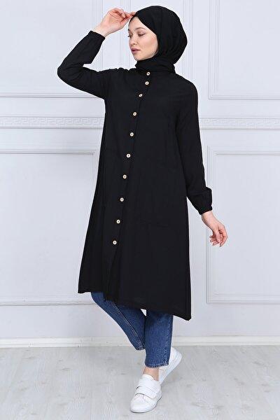 Kadın Siyah Düğme Detaylı Tunik