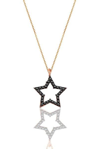 Gümüş Siyah Taşlı Yıldız Modeli Kolye SGTL9866SİYAH