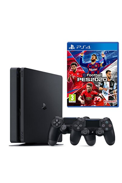 Playstation 4 Slim 500 GB + 2. PS4 Kol + PS4 Pes 2020