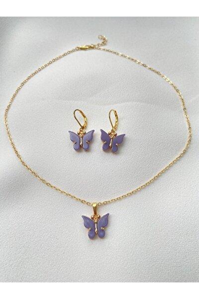 Altın Kaplama Lila Kelebek Kolye Ve Küpe Set
