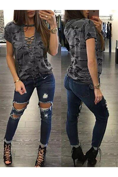 Bağcık Detay Kamuflaj Desen Bluz 56cm