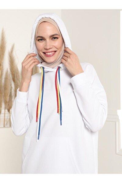 Kadın Beyaz Kapüşonlu Renkli Bağcıklı Sweat Tunik