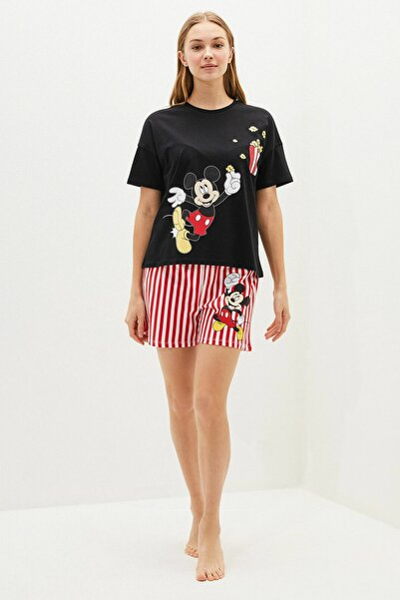 Kadın Yeni Siyah Mickey Mouse Pijama Takım