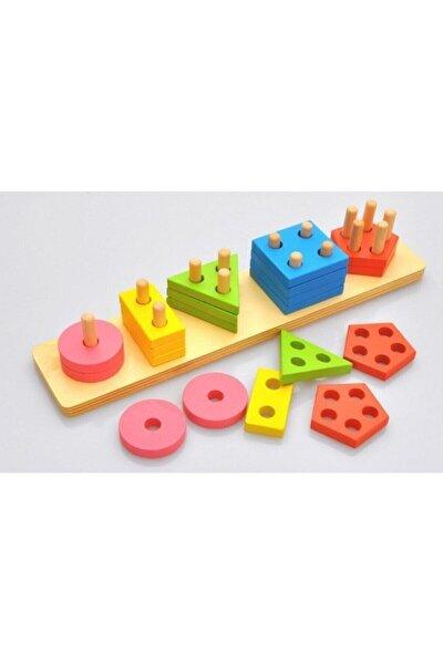 Ahşap Oyuncak Geometrik Şekil Yerleştirme 5'li Diktörgen Bultak
