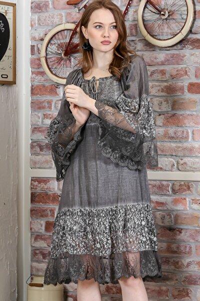 Kadın Füme Carmen Yaka İspanyol Kol Dantel Detaylı Astarlı Salaş Midi Elbise M10160000EL95240