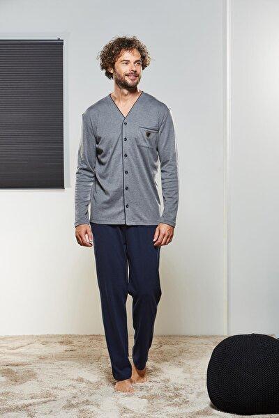 21315 Erkek Uzun Kol Düğmeli Pijama Takım