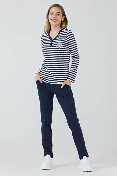 Kadın V Yaka Düğmeli Marine Pijama Takım - Lacivert