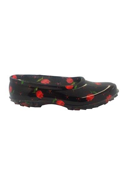 Kadın Kırmızı Çiçekli Lastik Ayakkabı