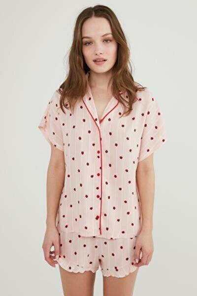 Kadın Pembe Berries And Stripe Ss Gömlek Şort Pijama Takımı