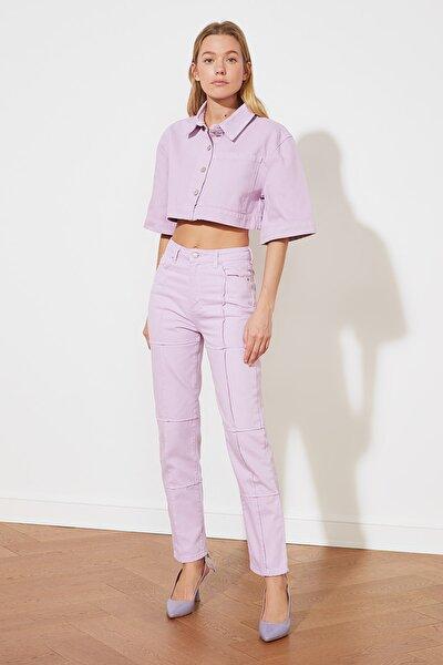 Lila Yüksek Bel Dar Straight Jeans TWOSS21JE0244