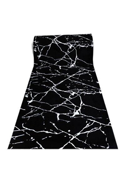 Jel Kaymaz Taban Siyah Beyaz Granit Desen Kesme Yolluk Halı