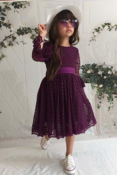 Mürdüm Şapkalı Dantelli Kız Çocuk Elbise - 12 Yaş