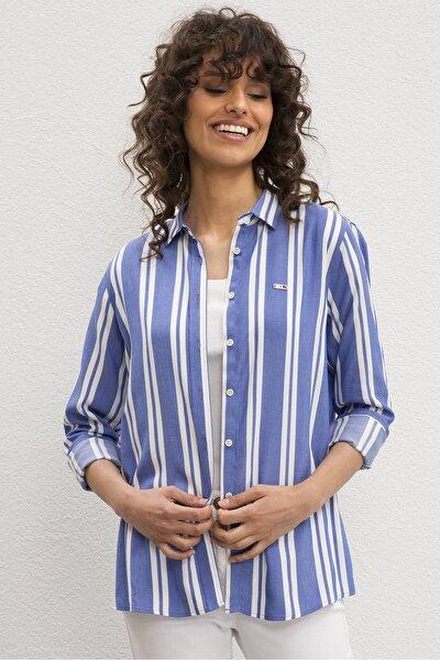 Mavi Kadın Dokuma Gömlek