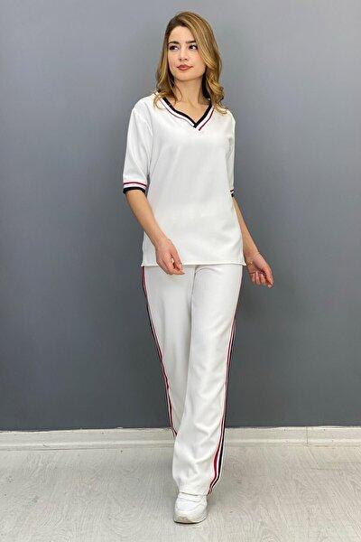 Kadın  Şeritli Takım - Beyaz