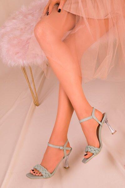 Yeşil Kadın Klasik Topuklu Ayakkabı 16076