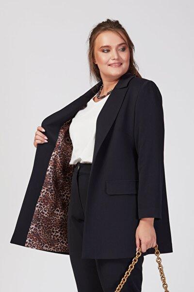 Kadın Lacivert Leopar Astarlı Blazer Ceket