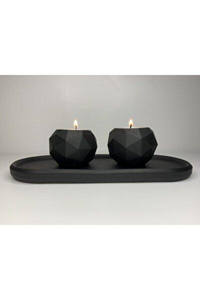 Elver Atölye Beton Siyah Mumluk Set - 20 x 14 cm
