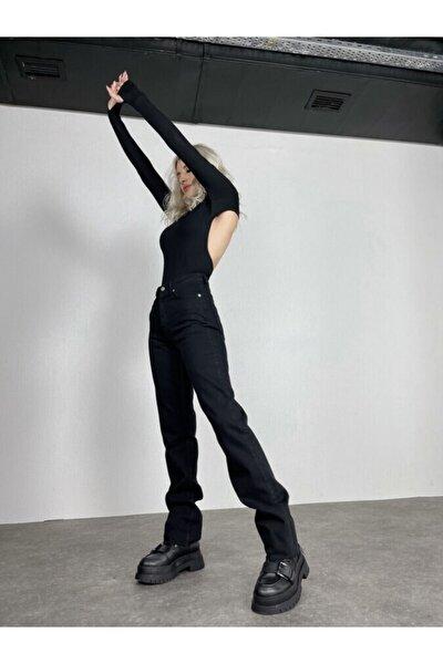 Kadın Siyah Yüksek Bel Likrasız Straight Kesim Sagrado Jean