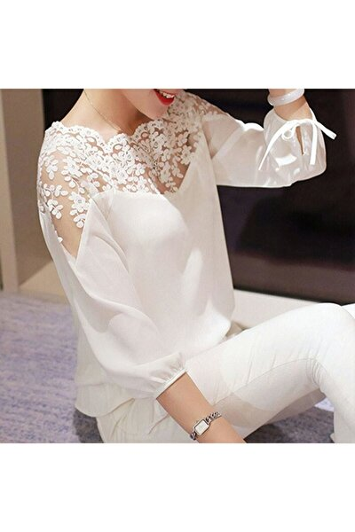 Kadın Beyaz Dantelli Bluz MİNA202002