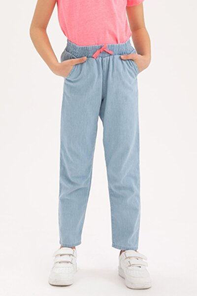 Kız Çocuk Mavi Carrot Fit Jeans