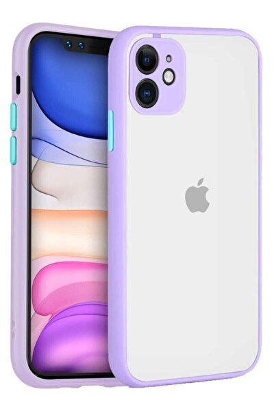 """Iphone 11 6.1"""" Kenarları Renkli Kamera Korumalı Transparan Kılıf"""