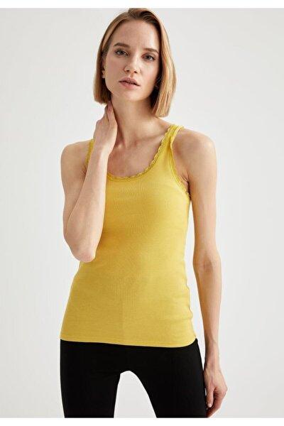 Kadın Sarı Dantelli Askılı Atlet