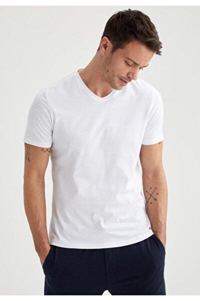 V Yaka Slim Fit Kısa Kollu Basic Tişört