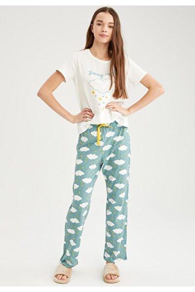 Kısa Kollu Baskılı Relax Fit Pijama Takımı