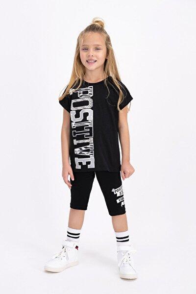 Kız Çocuk Siyah Tayt Bermuda Takım
