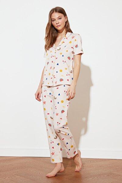 Beyaz Baskılı Örme Pijama Takımı THMSS21PT0611