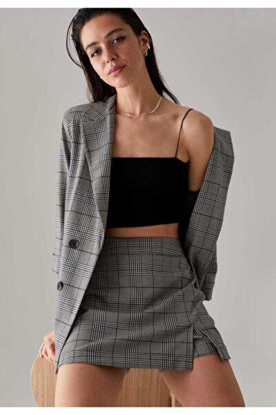 Kareli Oversize Fit Yarım Kollu Blazer Ceket