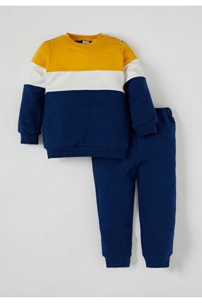 Erkek Bebek Renk Bloklu Sweatshirt Ve Jogger Eşofman Alt Takım