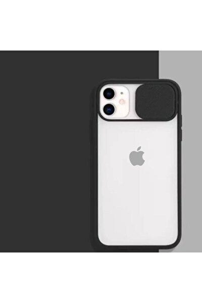 Siyah Iphone 11 Uyumlu Kamera Koruyuculu Slayt Korumalı Şeffaf Telefon Kılıfı