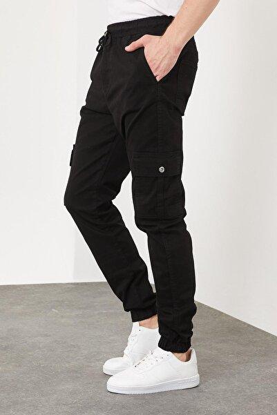 Erkek Slim Fit Jogger Pantolon Siyah