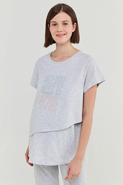 Kadın Açık Gri  Hamile T-Shirt