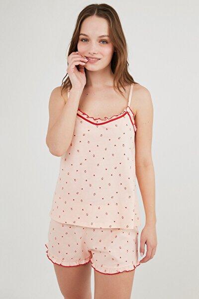 Pembe Berry Love Atlet Şort Pijama Takımı