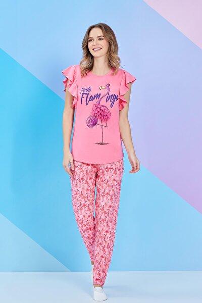 Pembe Kısa Kollu Bayan Pijama Takımı - 8100